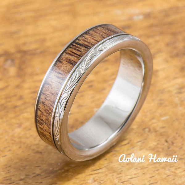 Titanium Ring with Koa Wood Inlay (6mm width, Flat Style) - Aolani Hawaii - 2