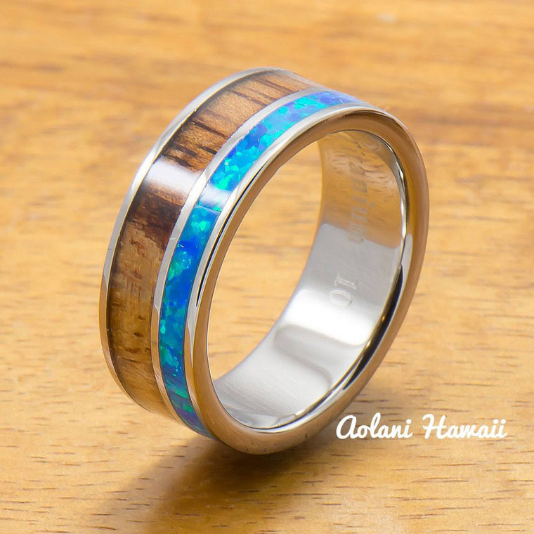 Titanium Ring with Opal and Hawaiian Koa Wood Inlay (8mm width, Flat Style)