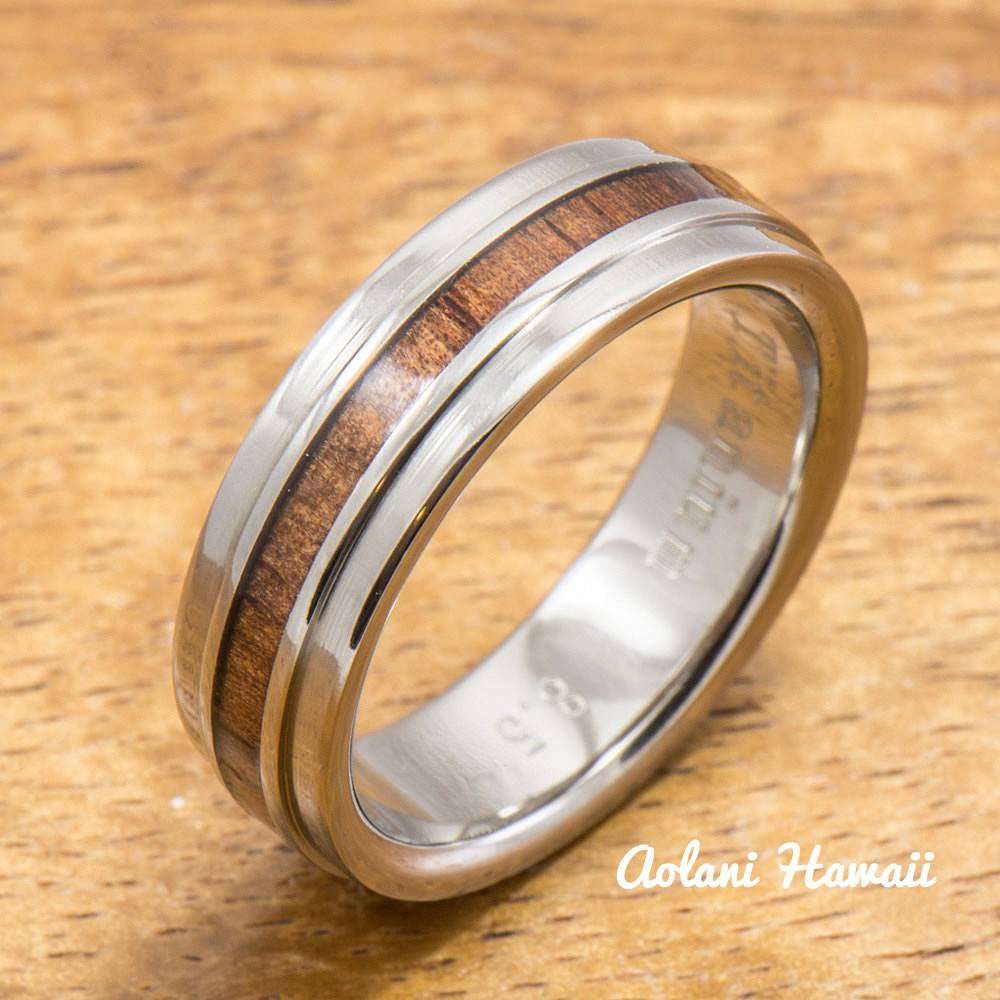 Titanium Ring with raised Hawaiian Koa Woodm Inlay (6mm width,  Flat Style) - Aolani Hawaii