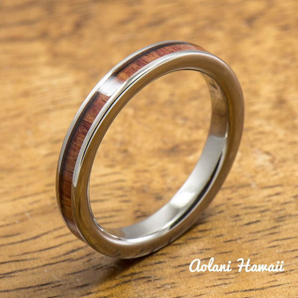 Titanium Ring with Tulip Wood Inlay (3mm width, Flat Style) - Aolani Hawaii