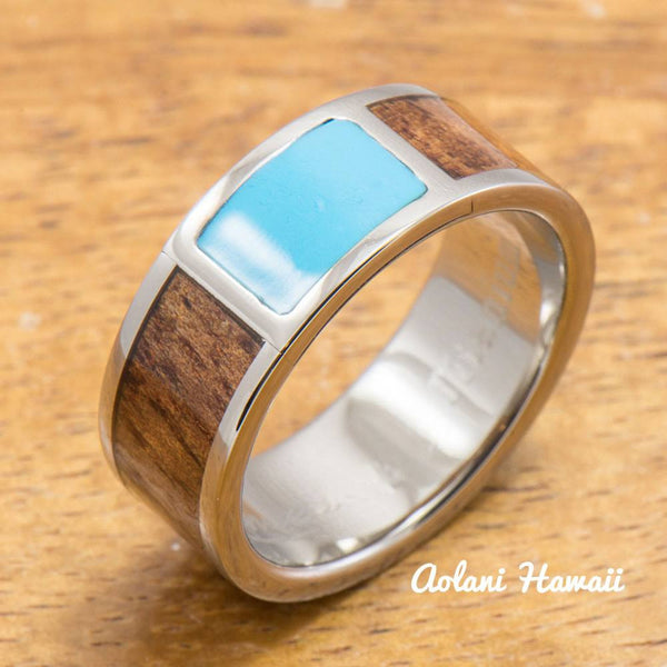 Titanium Ring with Turquoise and Hawaiian Koa Wood Inlay (8mm width, Flat Style) - Aolani Hawaii