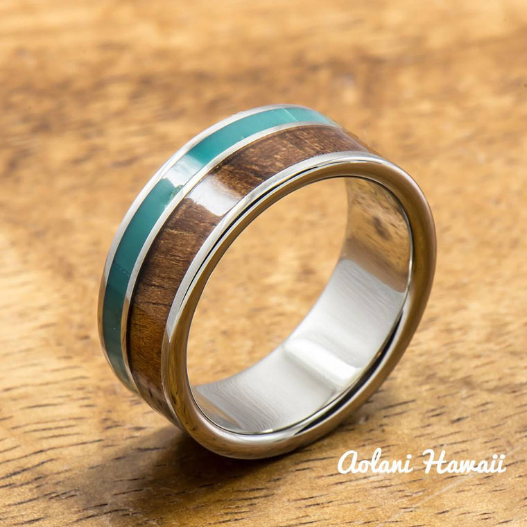 Titanium Ring with Turquoise and Hawaiian Koa Wood Inlay (8mm width,  Flat Style)