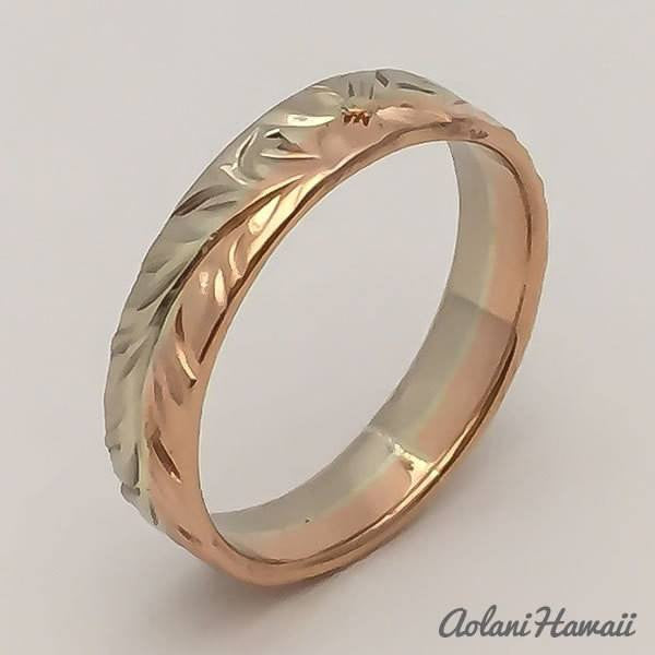 Traditional Hawaiian Hand Engraved 14k Gold Ring (4mm width, Flat Style) - Aolani Hawaii - 1