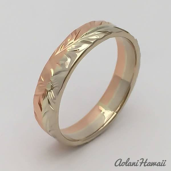 Traditional Hawaiian Hand Engraved 14k Gold Ring (4mm width, Flat Style) - Aolani Hawaii - 2