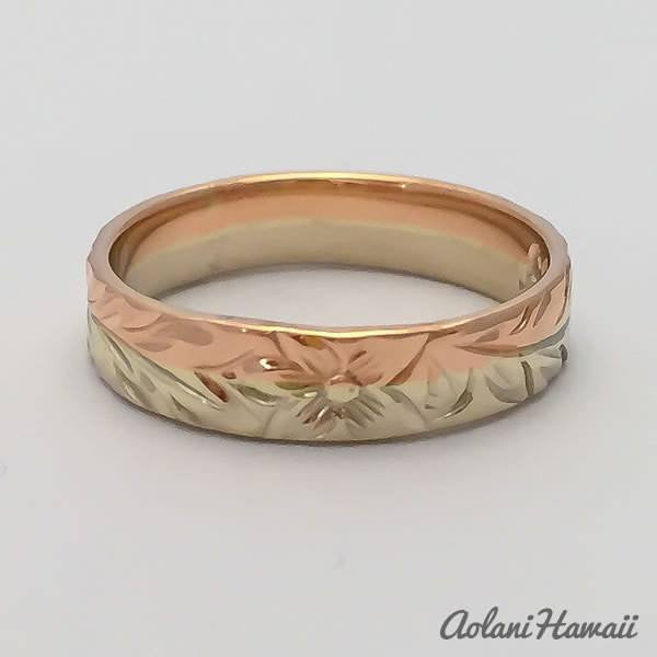 Traditional Hawaiian Hand Engraved 14k Gold Ring (4mm width, Flat Style) - Aolani Hawaii - 3
