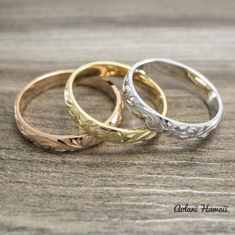 Traditional Hawaiian Hand Engraved 14k Gold Rings (3mm width, Barrel style)