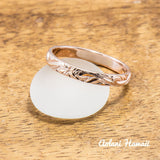 Traditional Hawaiian Hand Engraved 14k Gold Rings (3mm width, Barrel style) - Aolani Hawaii - 2