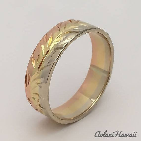 Traditional Hawaiian Hand Engraved 3 Tone 14k Gold Ring (Flat style) - Aolani Hawaii - 2