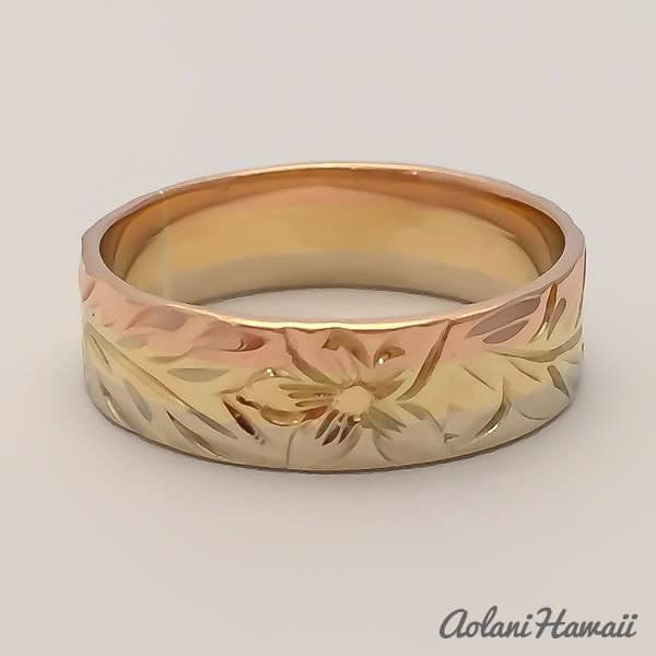 Traditional Hawaiian Hand Engraved 3 Tone 14k Gold Ring (Flat style) - Aolani Hawaii - 3