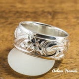 Traditional Hawaiian Hand Engraved Sterling Cutout Silver Ring (8mm width, Barrel Style) - Aolani Hawaii - 1