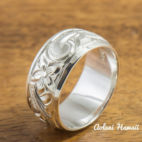 Traditional Hawaiian Hand Engraved Sterling Cutout Silver Ring (8mm width, Barrel Style) - Aolani Hawaii - 2