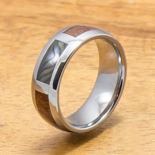 Tungsten Abalone Ring with Koa Wood Inlay Tungsten Ring (6mm - 8mm Width, Barrel style)
