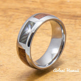 Tungsten Abalone Ring with Koa Wood Inlay Tungsten Ring (6mm - 8mm Width, Barrel style) - Aolani Hawaii - 1