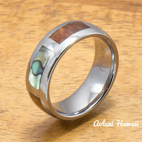 Tungsten Abalone Wedding Band Set with Mother of Pearl Abalone and Koa Wood Inlay (6mm - 8mm Width) - Aolani Hawaii - 3