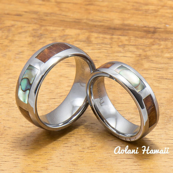Tungsten Abalone Ring with Koa Wood Inlay Tungsten Ring (6mm - 8mm Width, Barrel style) - Aolani Hawaii - 3