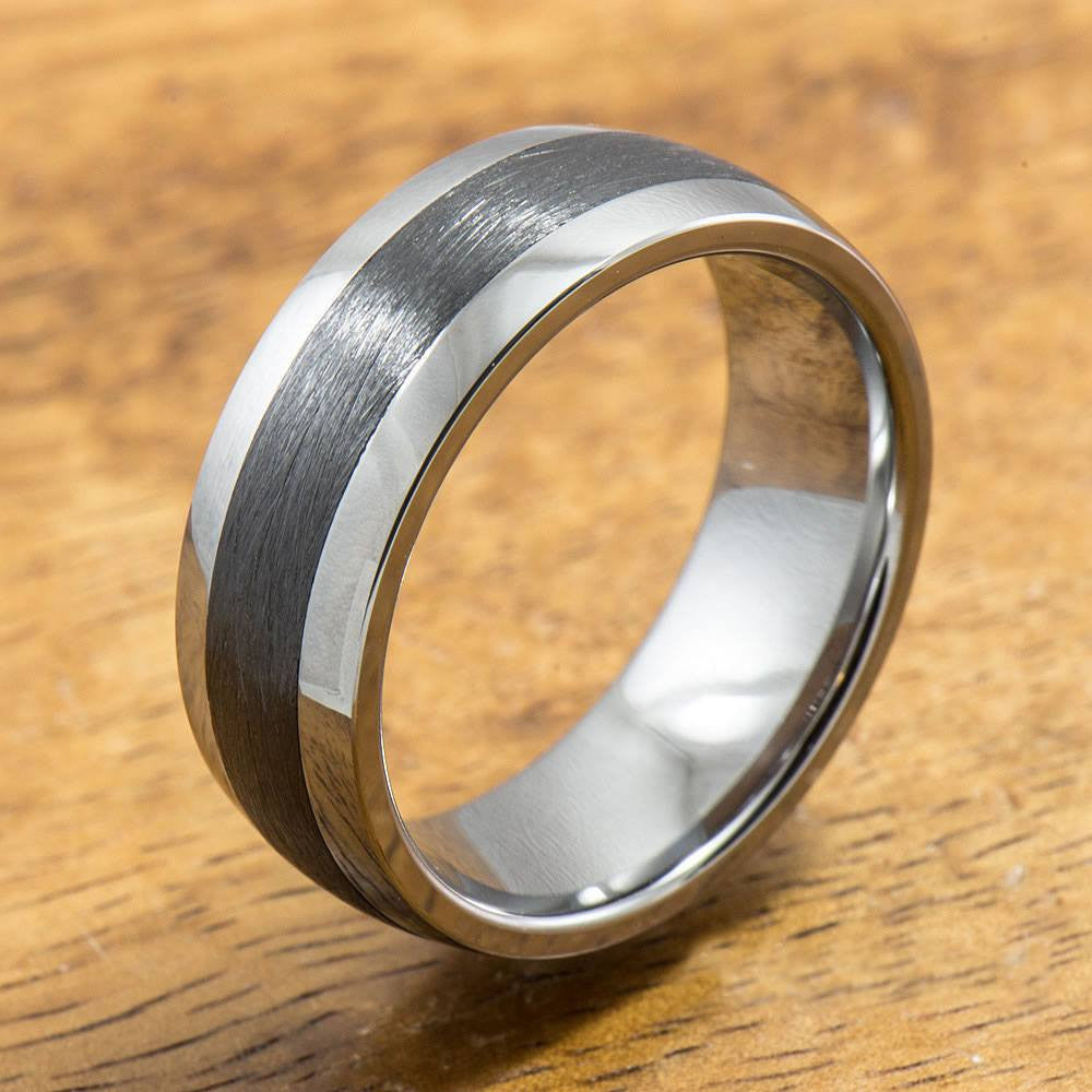 Tungsten Carbide Ring with Brushed Black Ceramic Inlay (8mm width,  Barrel style)