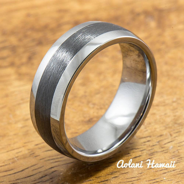 Tungsten Carbide Ring with Brushed Black Ceramic Inlay (8mm width,  Barrel style) - Aolani Hawaii