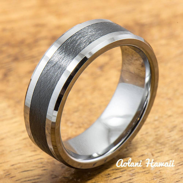 Tungsten Carbide Ring with Brushed Black Ceramic Inlay (8mm width,  Flat style) - Aolani Hawaii