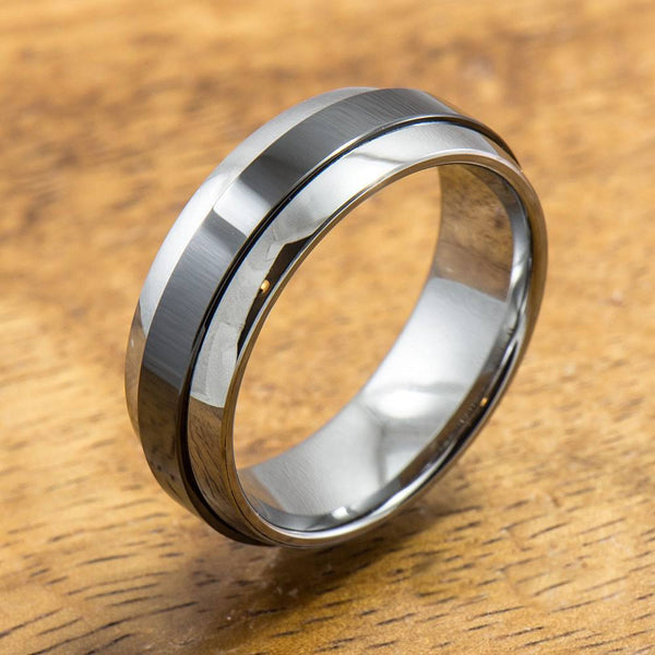 Tungsten Carbide Ring with Polished Black Ceramic Inlay (7mm width,  Barrel style)