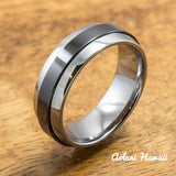Tungsten Carbide Ring with Polished Black Ceramic Inlay (7mm width,  Barrel style) - Aolani Hawaii