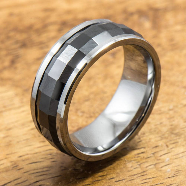 Tungsten Carbide Ring with polished Black Spinning Ceramic Inlay (8mm width, Barrel style)