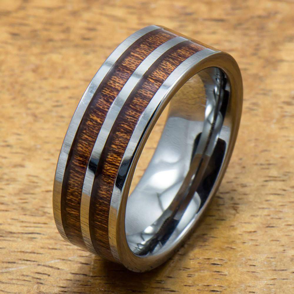 Tungsten Koa Ring with Hawaiian Wood Inlay (8mm width, Flat style)