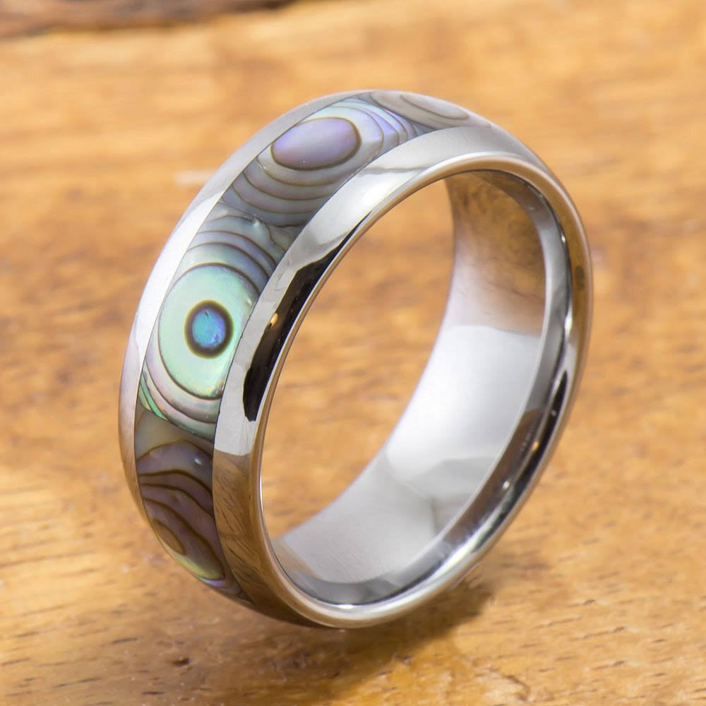 Tungsten Ring with Abalone Inlay (4mm - 8mm Width, Barrel style)