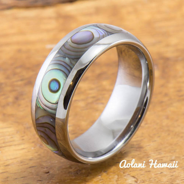 Tungsten Ring with Abalone Inlay (4mm - 8mm Width, Barrel style) - Aolani Hawaii - 1