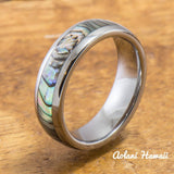 Tungsten Wedding Band Set with Mother of Pearl Abalone Inlay (6mm - 8mm Width) - Aolani Hawaii - 3