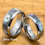 Tungsten Wedding Band Set with Mother of Pearl Abalone Inlay (6mm - 8mm Width) - Aolani Hawaii - 1