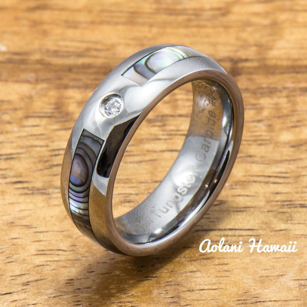 CZ Cubic Zirconia Stone Tungsten Ring with Abalone Inlay (6mm Width, Barrel style) - Aolani Hawaii