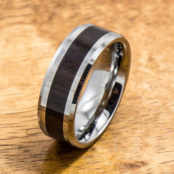 Tungsten Ring with Cocobolo Wood Inlay (8mm width, Flat style)