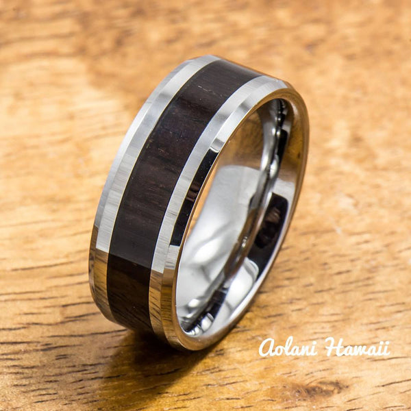 Tungsten Ring with Cocobolo Wood Inlay (8mm width, Flat style) - Aolani Hawaii