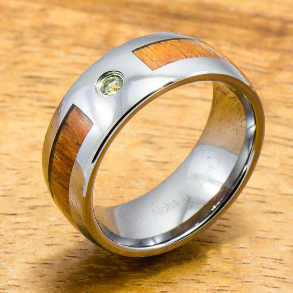 Tungsten Ring with Hawaiian Koa Wood (8mm width Peridot Stone, Barrel style)