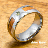 Tungsten Ring with Hawaiian Koa Wood (8mm width Peridot Stone, Barrel style) - Aolani Hawaii