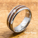 Tungsten Wedding Band Set with Hawaiian Koa Wood Inlay (6mm & 8mm width) - Aolani Hawaii - 2