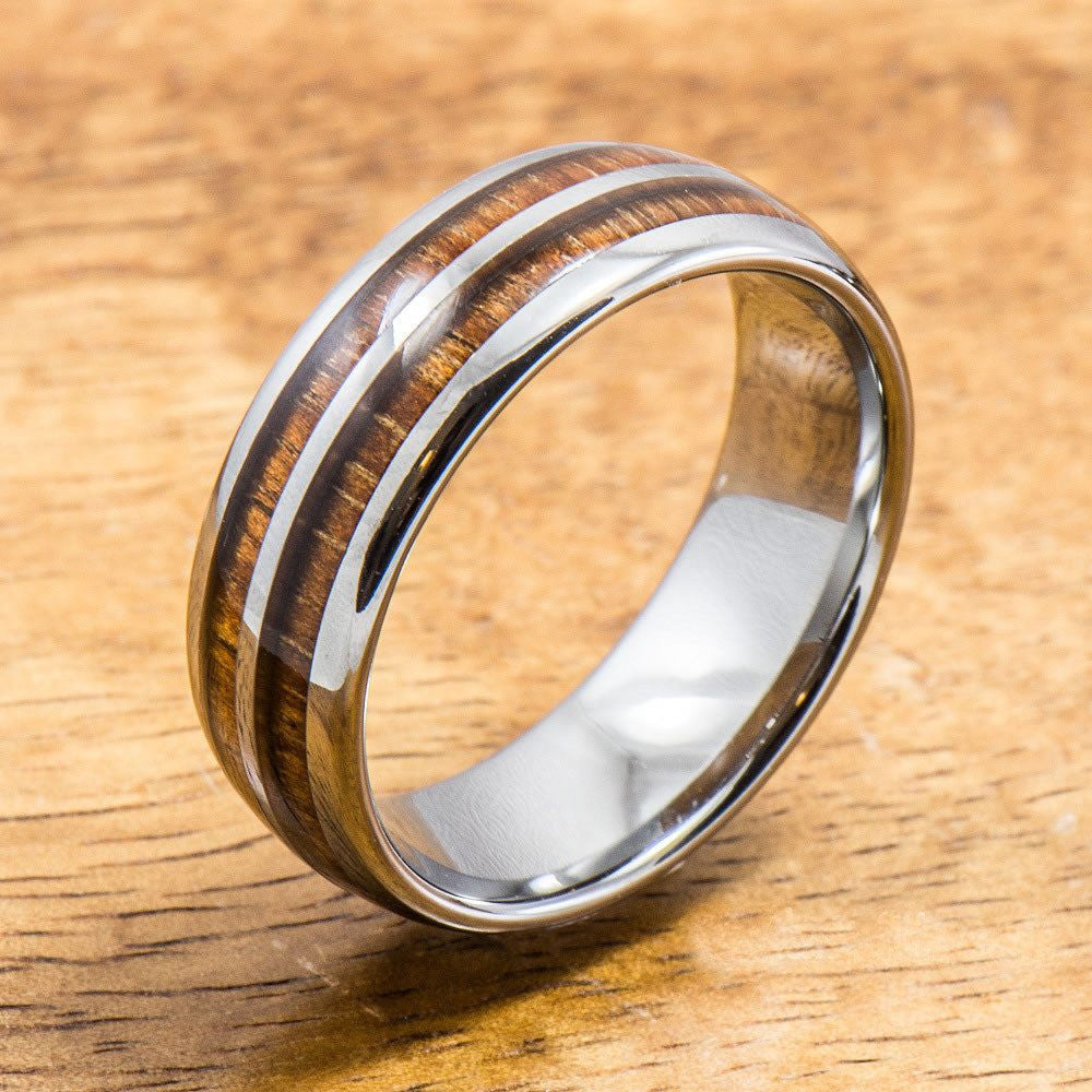 Tungsten Ring with Hawaiian Wood Inlay (6mm - 8mm width, Barrel style)