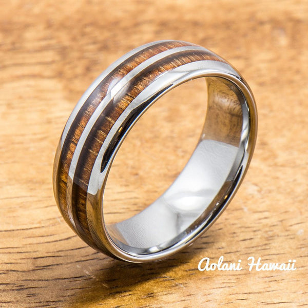Tungsten Ring with Hawaiian Wood Inlay (6mm - 8mm width, Barrel style) - Aolani Hawaii - 1