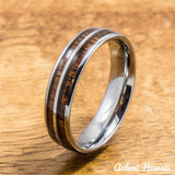 Tungsten Ring with Hawaiian Wood Inlay (6mm - 8mm width, Barrel style) - Aolani Hawaii - 2