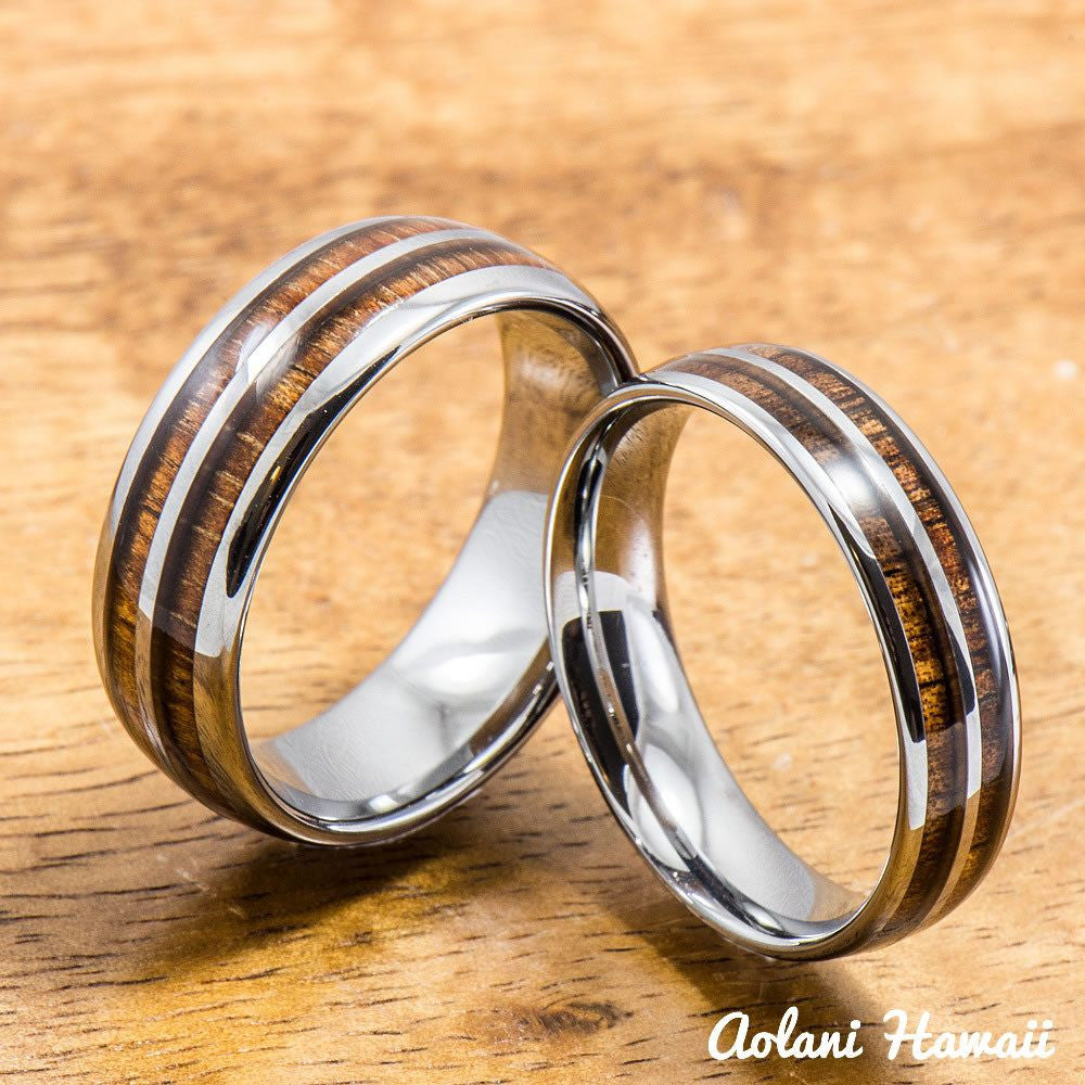 Tungsten Wedding Band Set with Hawaiian Koa Wood Inlay (6mm & 8mm width) - Aolani Hawaii - 1