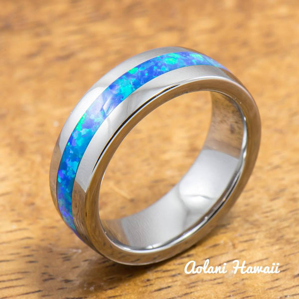 Tungsten Ring with Opal Inlay (4mm - 8mm width, Barrel style) - Aolani Hawaii - 2