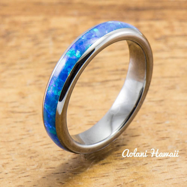 Wedding Band Set of Tungsten Rings with Opal Inlay (6mm & 4mm width, Barrel Style) - Aolani Hawaii - 3