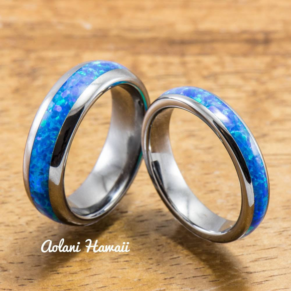Wedding Band Set of Tungsten Rings with Opal Inlay (6mm & 4mm width, Barrel Style) - Aolani Hawaii - 1