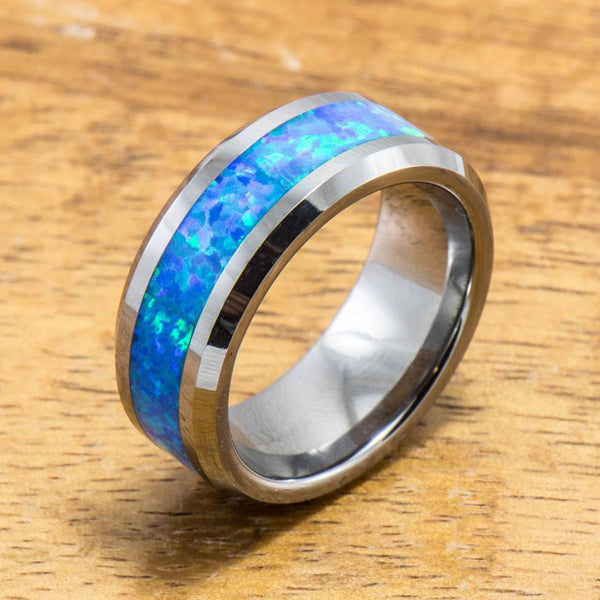 Tungsten Ring with Opal Inlay (4mm - 8mm width, Flat style)