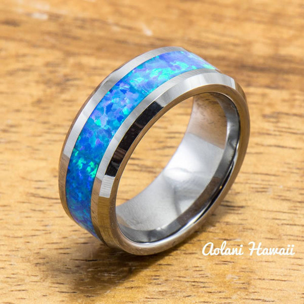 Wedding Band Set of Tungsten Rings with Opal Inlay (8mm & 4mm width, Flat Style) - Aolani Hawaii - 2