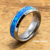 Wedding Band Set of Tungsten Rings with Opal Inlay (6mm & 8mm width, Flat Style) - Aolani Hawaii - 3