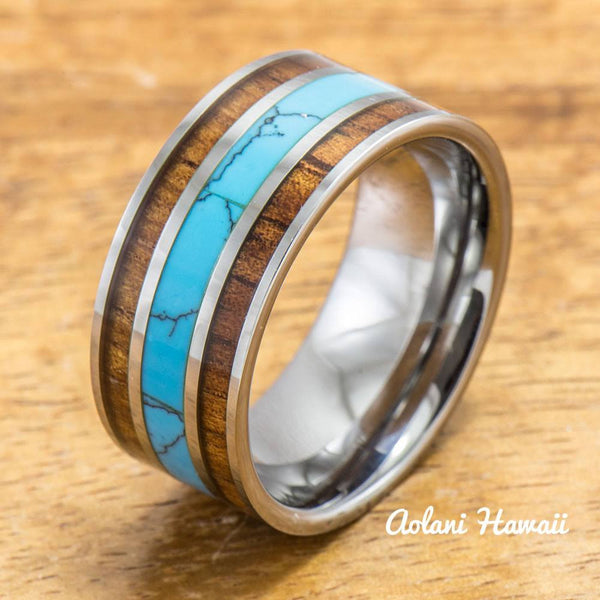 Tungsten Ring with Turquoise And Koa Wood Inlay (10mm width, Flat style) - Aolani Hawaii