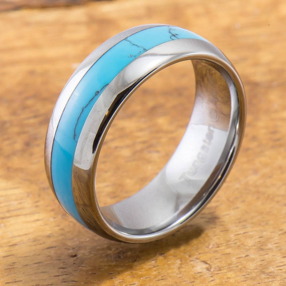 Tungsten Ring with Turquoise Inlay (6mm - 8mm width, Barrel style)
