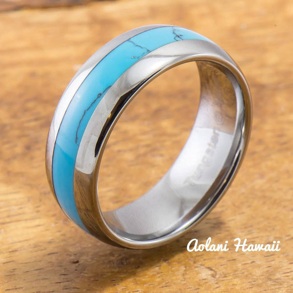 Tungsten Ring with Turquoise Inlay (6mm - 8mm width, Barrel style) - Aolani Hawaii - 1