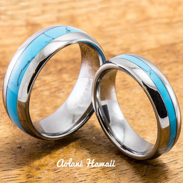 Tungsten Ring with Turquoise Inlay (6mm - 8mm width, Barrel style) - Aolani Hawaii - 3